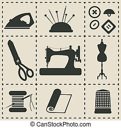 sewing icons - vector illustration