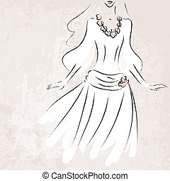 sketch bride in wedding dress on grungy background