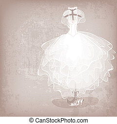 bride dress on grungy background - vector illustration