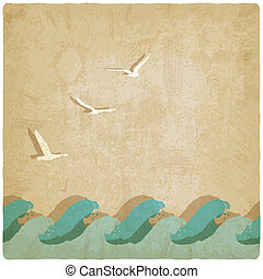 Vintage marine background - vector illustration