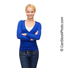 smiling young woman in casual clothes - happiness and people...