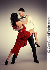 tango expression - Beautiful professional artists dancing...