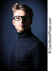 imposing model - Imposing man in elegant black clothes and...