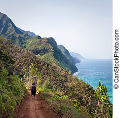Female Hikers on Kalalau Trail Kauai - Kalalau trail path on...