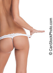 Female buttocks. Rear view of female buttocks isolated on...