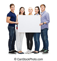 group of smiling students with white blank board -...