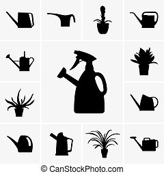 Watering cans and flowerpots - Set of watering cans and...