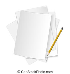 Papers and pencil. - Pile of blank papers with pencil on...