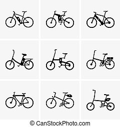 Electric bicycles - Set of Electric bicycle icons