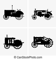 Old tractors - Set of four old tractor icons