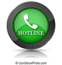 Hotline icon - Shiny glossy icon with white design on green...