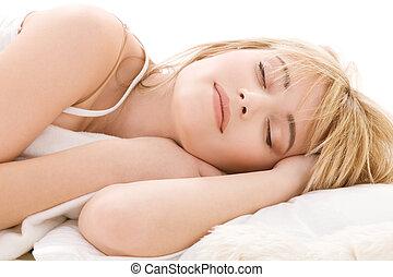 sleeping girl - bright closeup picture of sleeping teenage...