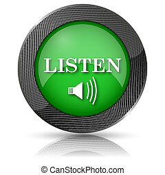 Listen icon - Shiny glossy icon with white design on green...
