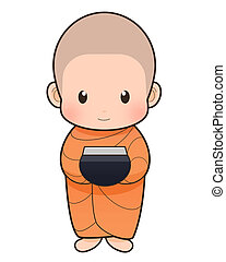 Buddhist Monk cartoon - Offer food to monk on early morning,...