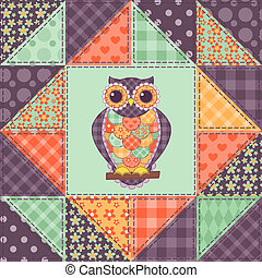 Seamless patchwork owl pattern 1