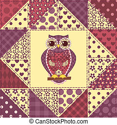 Seamless patchwork owl pattern 2 - Seamless patchwork owl...