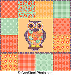 Seamless patchwork owl pattern 4 - Seamless patchwork owl...