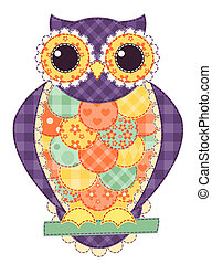 Colored isolated patchwork owl. Vector quilt illustration.