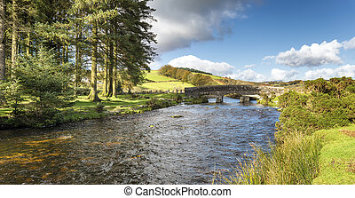 The East Dart River at Bellever Bridge - The East Dart River...