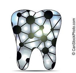 Caries - Unhealthy tooth, caries concept Isolated on a white...