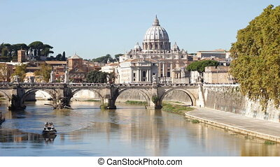 Vatican and Tiber River Daytime - Sunny view of St. Peter's...
