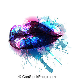 Lips with colorful splashes