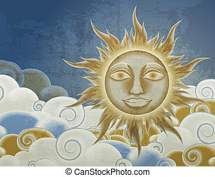 Retro style sun and clouds illustration