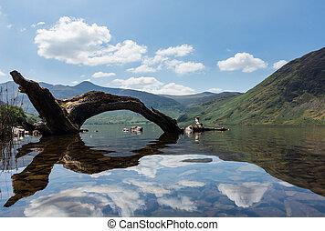 reflexión, distrito,  crummock, lago, agua, colinas