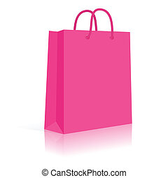 Blank Paper Shopping Bag With Rope Handles. Pink. Vector