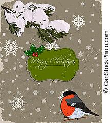 Christmas card with bullfinch.