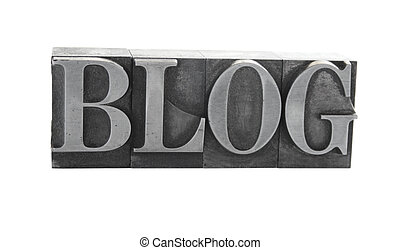 blog in metal type - the word blog in old lead letters