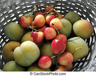 green plums and rainier cherries - fresh green plums and...