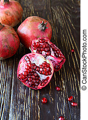 ripe juicy pomegranates, food