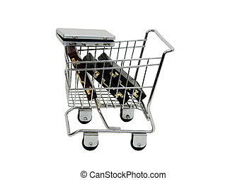 Shopping for a job - Shopping cart full of briefcases while...