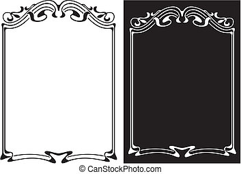 art deco frame - art nouveau - black and white floral and...