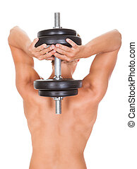 Man Exercising With Dumbbells - Rear View Of Young Man...