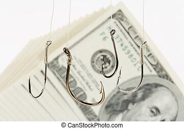 pesca, gancho, dólar