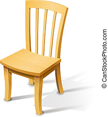 Wooden chair. Vector illustration isolated on white...