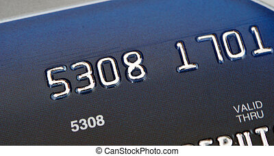 blue bank card, macro, narrow focus