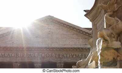 Roman Pantheon in the Sunshine - Fountana del Pantheon in...