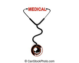 stethoscope with medical text