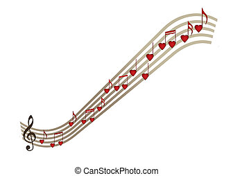 Love music with heart notes, musical notation - If music be...