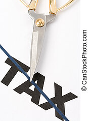 Tax Cut - text of tax and scissors, concept of tax cut