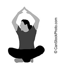 male mediating with hands raised on isolated background