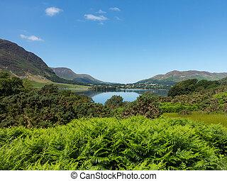 lago, reflexión, colinas, distrito,  crummock