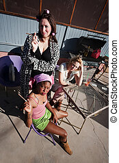 Three Trashy Women - Portrait of three trashy women outdoors