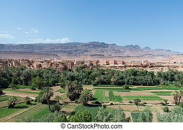 Tinghir in Morocco with green verdant valley - Tinghir in...