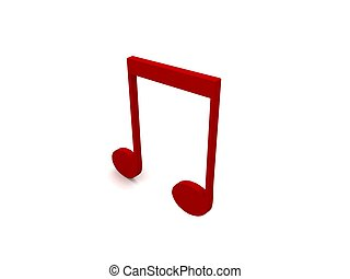 three dimensional red music note