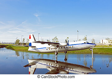 Airplane on water in the Netherlands