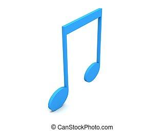 three dimensional blue musical notation - three dimensional...